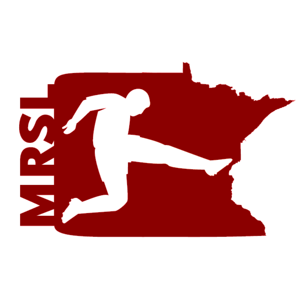 MRSL Logo. A soccer player kicking a ball on top of a map-outline of Minnesota.